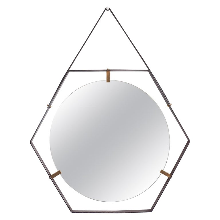 Italian Hexagonal Mirror by Sant'Ambrogio & de Berti in Metal, Brass & Leather For Sale