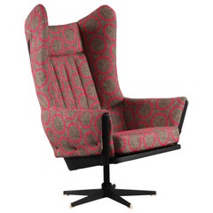 Italian High Back Swivel Armchair, Italy 1950