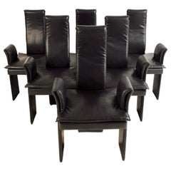 Italian High Backed Leather Dining Chairs
