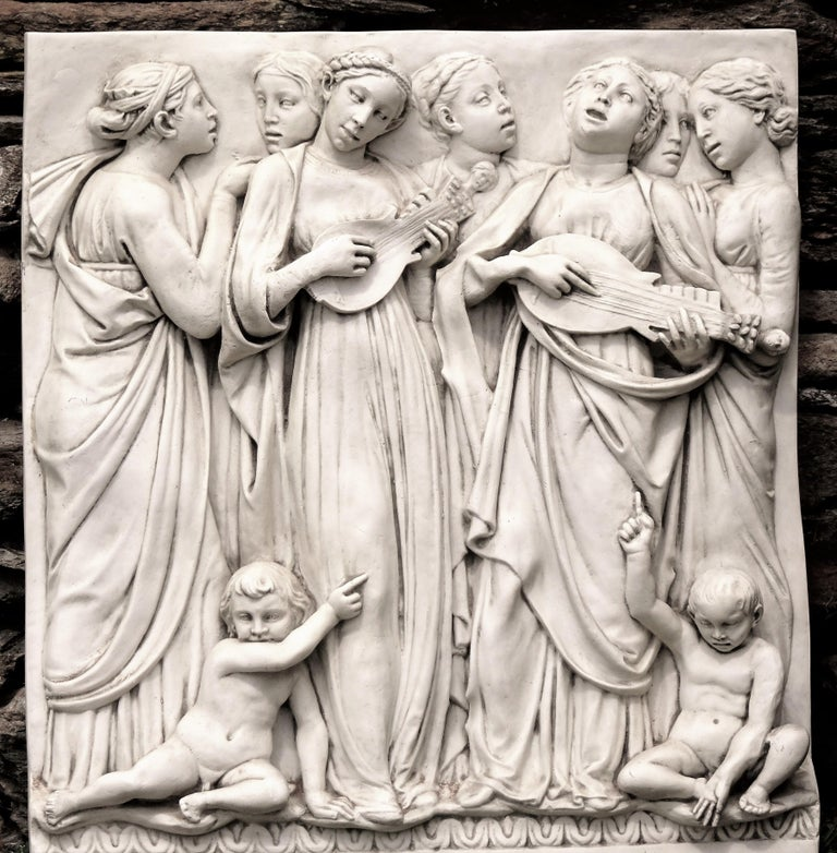 Neoclassical Italian High-Relief Wall Plaque, Roman Influence, Large Molded Fiberglass, 1955 For Sale