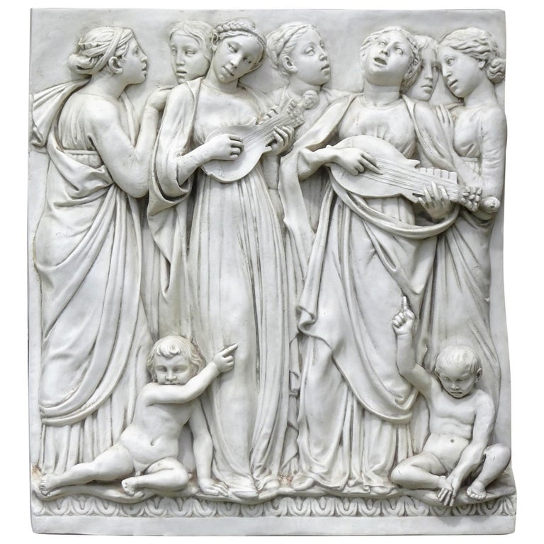 Italian High-Relief Wall Plaque, Roman Influence, Large Molded Fiberglass, 1955 For Sale