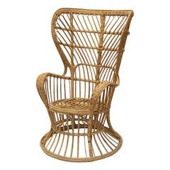 Italian High Wingback Armchair of Bamboo and Rattan