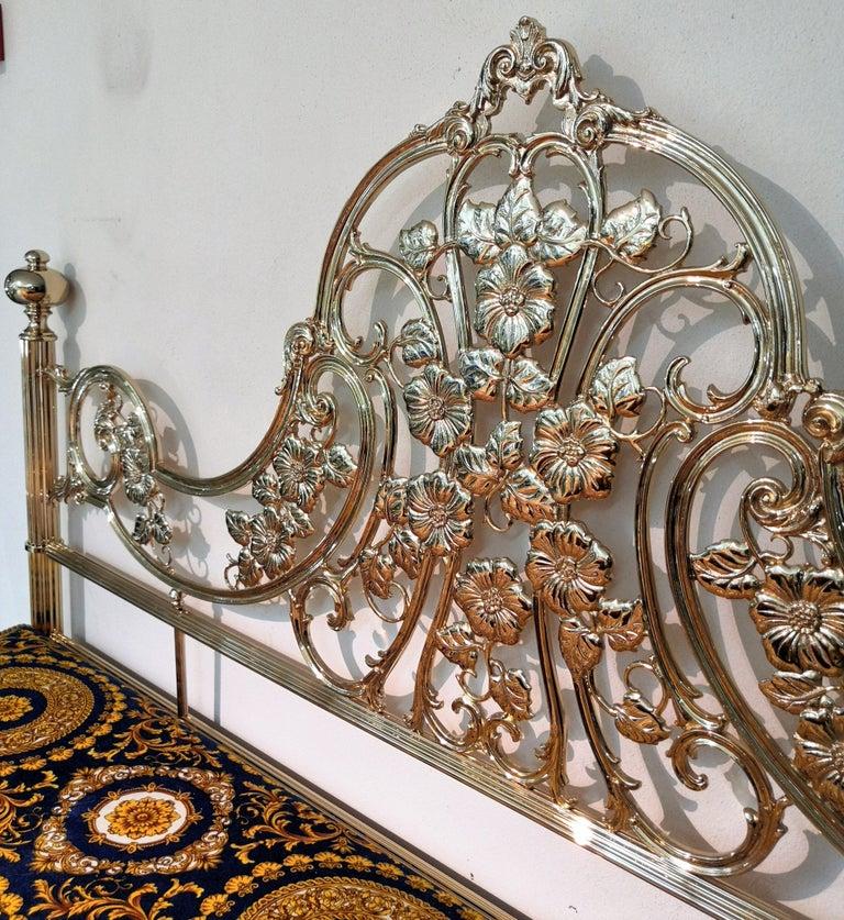 Italian Hollywood Regency Brass King Size Bed Frame, 1980s 1