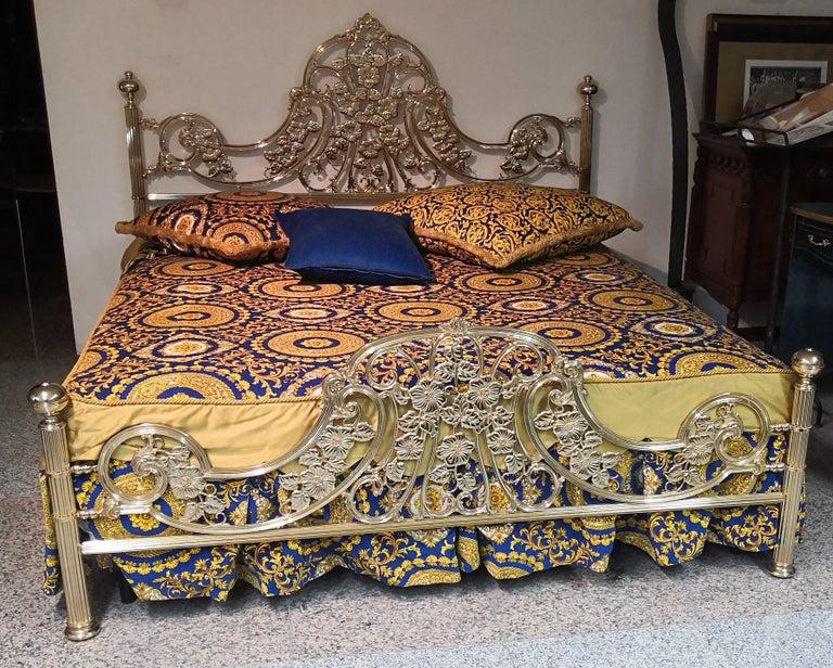 Italian Hollywood Regency Brass King Size Bed Frame, 1980s 2
