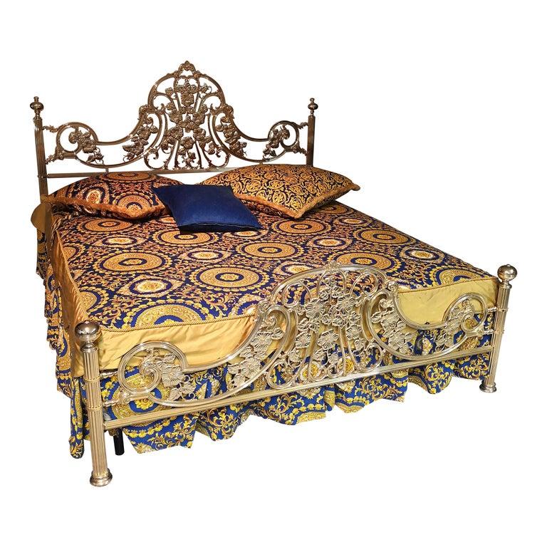 Italian Hollywood Regency Brass King Size Bed Frame, 1980s