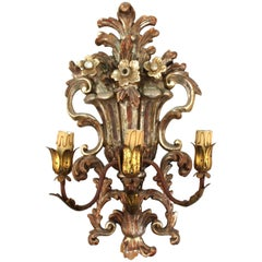 Italian Hollywood Regency Carved Wood Floral Sconce