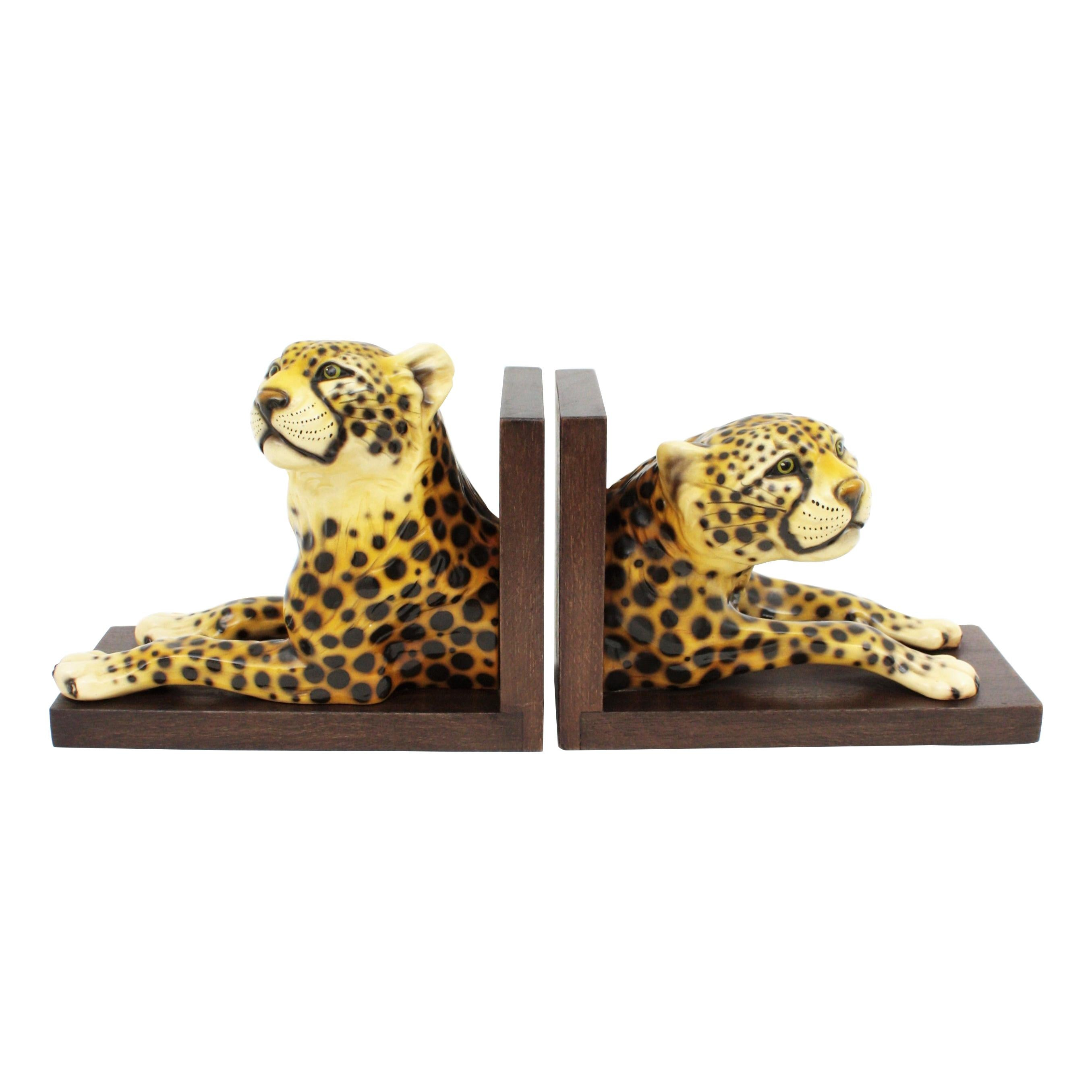 Italian Hollywood Regency Cheetah Ceramic Bookends, Set of Two