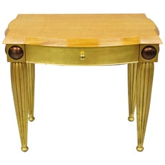 Italian Hollywood Regency Curly Maple Gold Gilt Leaf 1 Drawer Console Hall Table