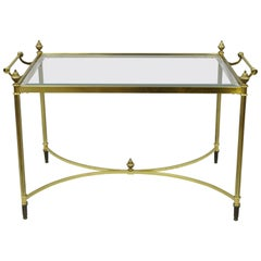 Italian Hollywood Regency Directoire Style Brass & Glass Coffee Table