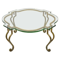 Italian Hollywood Regency Distressed Gold Gilt Iron Scalloped Glass Coffee Table