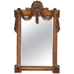 Italian Hollywood Regency Draped Swag and Shell Mirror, Dorothy Draper Style