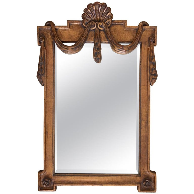 Italian Hollywood Regency Draped Swag and Shell Mirror, Dorothy Draper Style For Sale