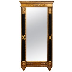 Italian Hollywood Regency Ebony & Gilt Decorated Wall or Console Mirror