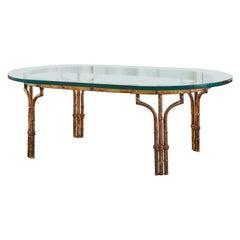 Italian Hollywood Regency Faux Bamboo Gilt Iron Cocktail Table