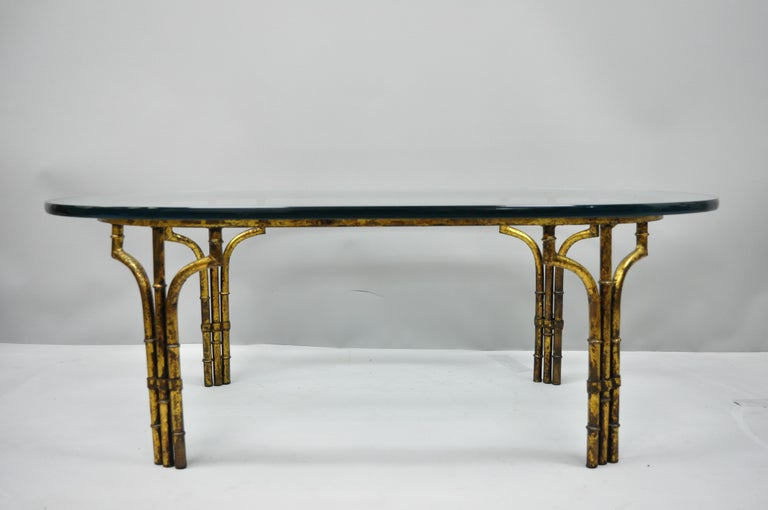 Italian Hollywood Regency Faux Bamboo Gold Gilt Metal Oval Glass Coffee Table For Sale 5