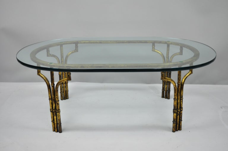Chinese Chippendale Italian Hollywood Regency Faux Bamboo Gold Gilt Metal Oval Glass Coffee Table For Sale