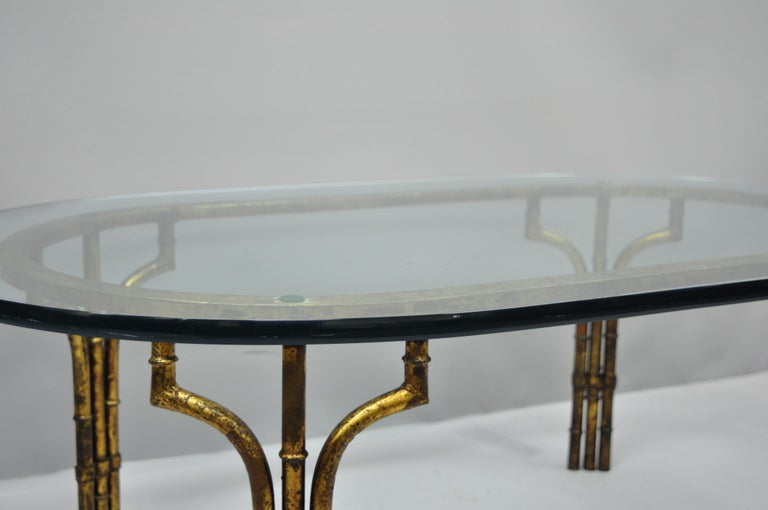 Italian Hollywood Regency Faux Bamboo Gold Gilt Metal Oval Glass Coffee Table In Good Condition For Sale In Philadelphia, PA