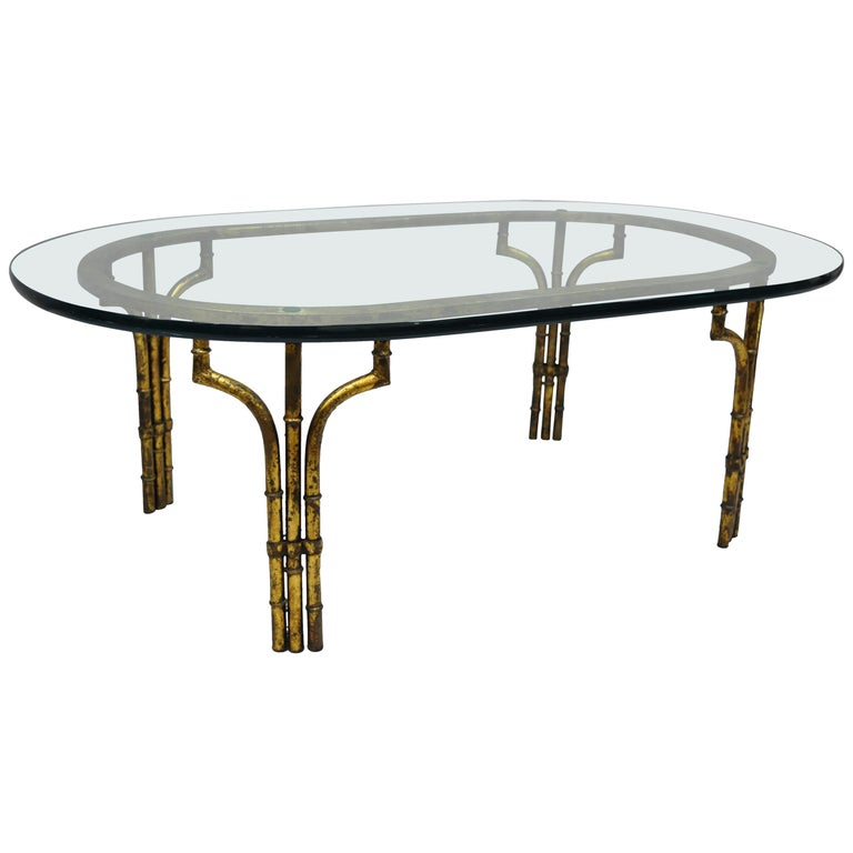 Italian Hollywood Regency Faux Bamboo Gold Gilt Metal Oval Glass Coffee Table For Sale