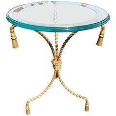 Italian Hollywood Regency Gilt Iron Side Table