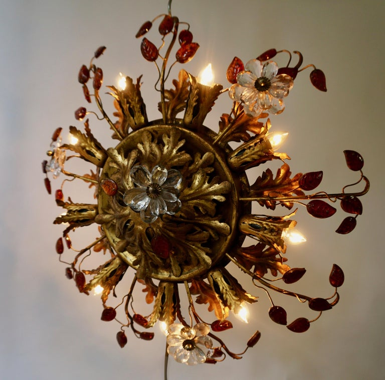 Italian Hollywood Regency Gilt Metal Flush Mount or Ceiling Lamp, 1970s In Good Condition For Sale In Antwerp, BE
