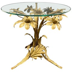 Italian Hollywood Regency Gilt Rose Flower Side Table, 1960s