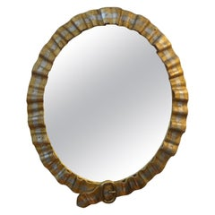 Italian Hollywood Regency Giltwood Mirror with Buckle