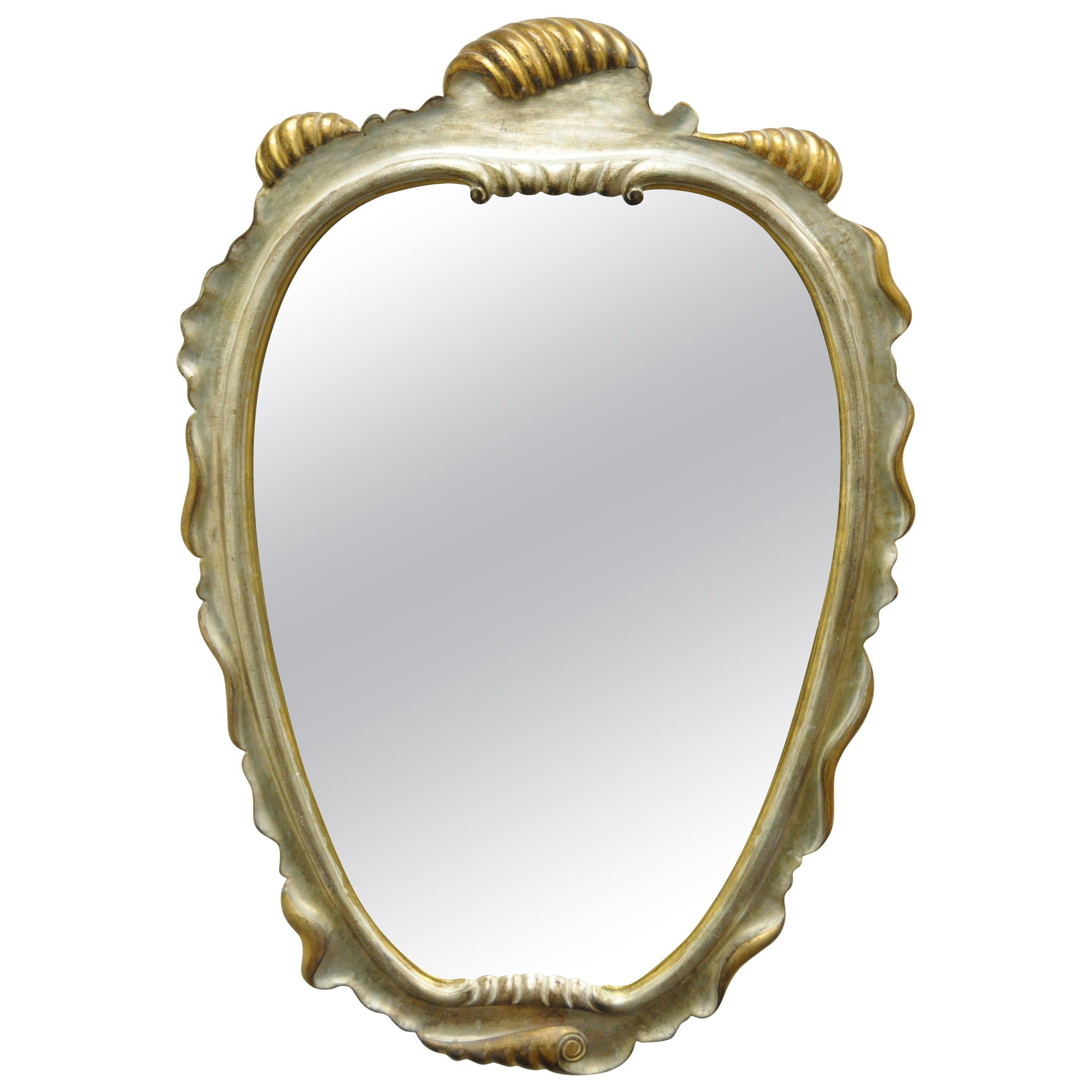 Italian Hollywood Regency Gold and Silver Giltwood Mirror after Dorothy Draper