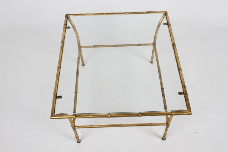 Italian Hollywood Regency Gold Gilt Faux Bamboo Glass Top Side or End Table For Sale 7