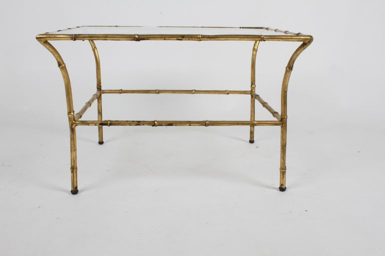 Nice mid-century square gold gilt faux bamboo glass top side, end table or small coffee table made in Italy. Small chip to glass as seen in photo, overall very nice.