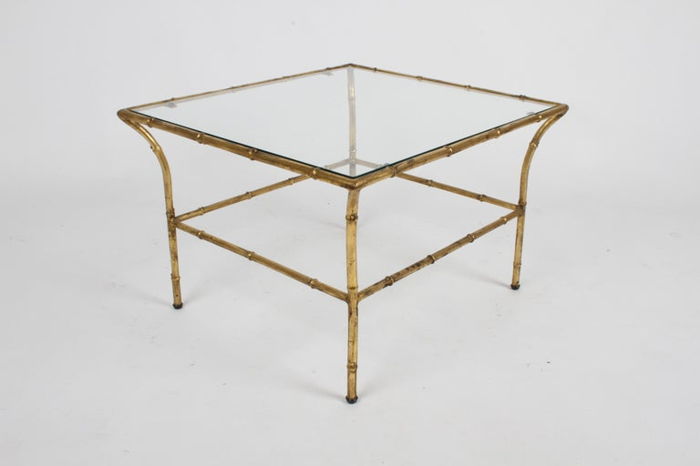Italian Hollywood Regency Gold Gilt Faux Bamboo Glass Top Side or End Table For Sale 1