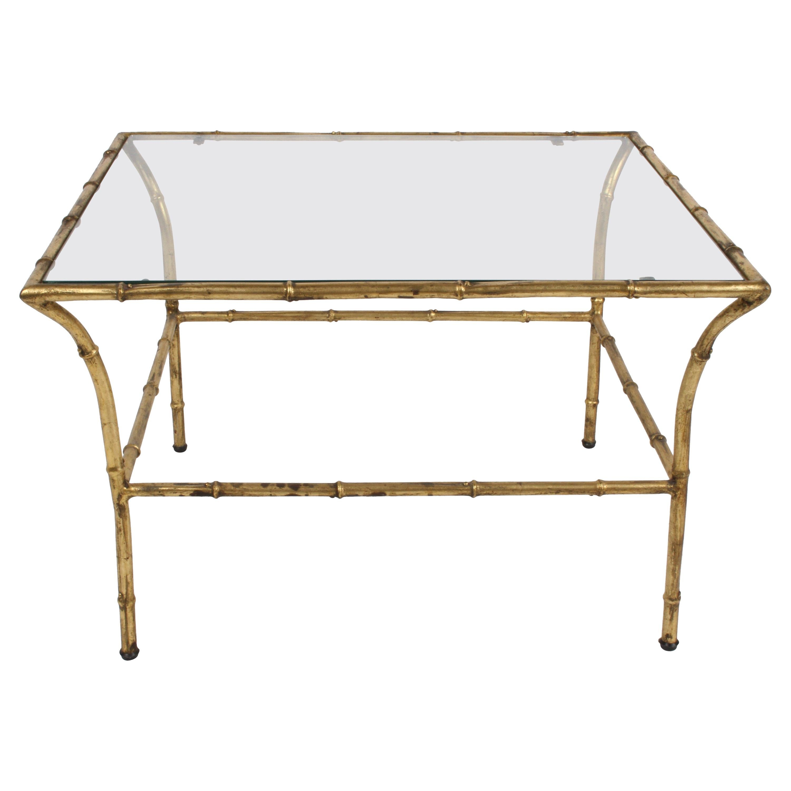 Italian Hollywood Regency Gold Gilt Faux Bamboo Glass Top Side or End Table