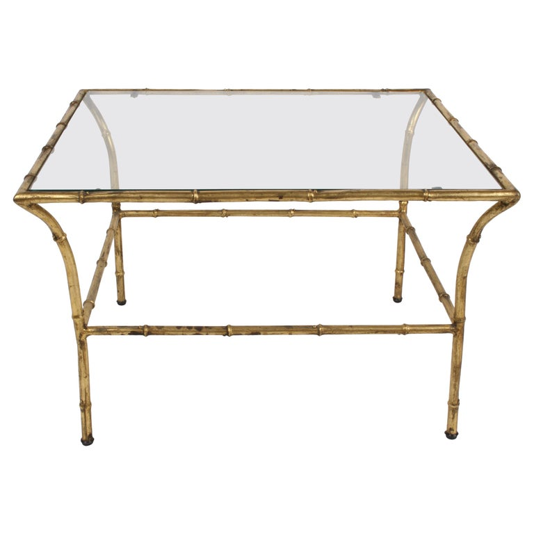 Italian Hollywood Regency Gold Gilt Faux Bamboo Glass Top Side or End Table For Sale