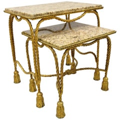 Italian Hollywood Regency Gold Gilt Iron Rope Tassel Marble-Top Nesting Tables