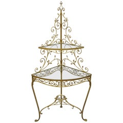 Italian Hollywood Regency Gold Iron Metal Corner Curio Display Shelf Stand