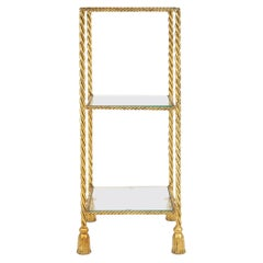 Italian Hollywood Regency Gold Twisted Rope and Tassel Console Table