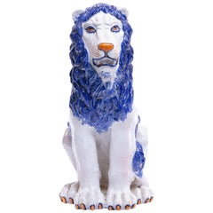 Italian Hollywood Regency Hand Painted Ceramic Lion, circa 1960
