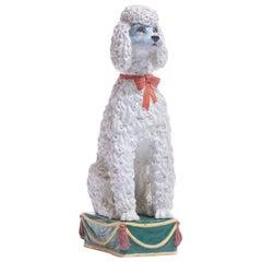Italian Hollywood Regency Hand Painted Ceramic Poodle, circa 1960