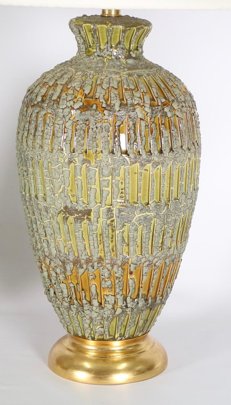 Italian Hollywood Regency Lamps Lava Glazed in Green and Gold Tones In Excellent Condition For Sale In New York, NY
