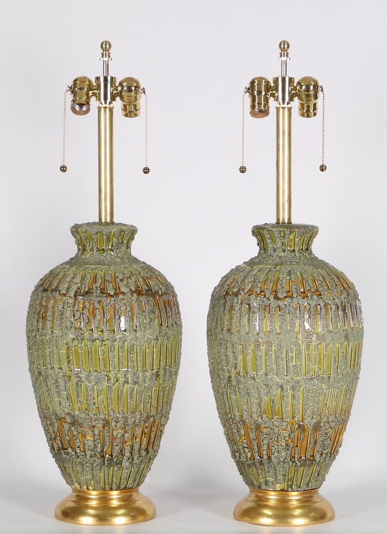 Ceramic Italian Hollywood Regency Lamps Lava Glazed in Green and Gold Tones For Sale