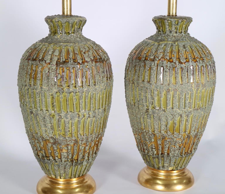 Italian Hollywood Regency Lamps Lava Glazed in Green and Gold Tones For Sale 1