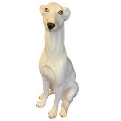 Italian Hollywood Regency Life-Size Ceramic Greyhound