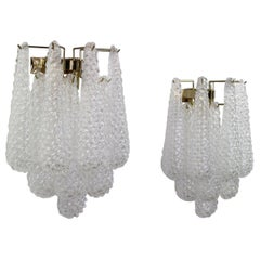 Italian Hollywood Regency Mazzega Style Murano Glass Drop Sconces