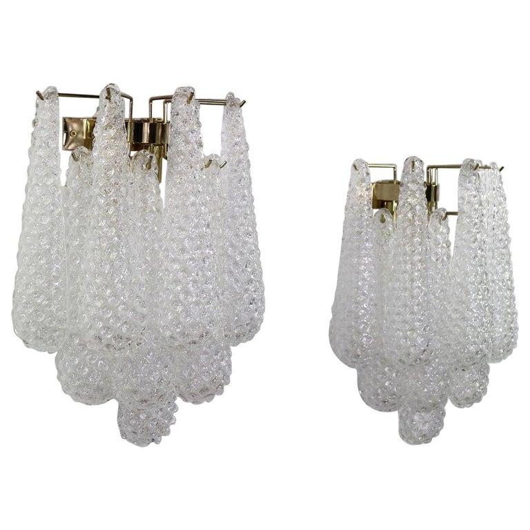 Italian Hollywood Regency Mazzega Style Murano Glass Drop Sconces For Sale