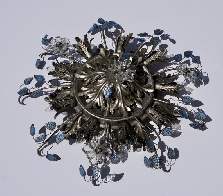 Italian Hollywood Regency Metal and Glass Flush Mount or Ceiling Lamp, 1970s For Sale 4