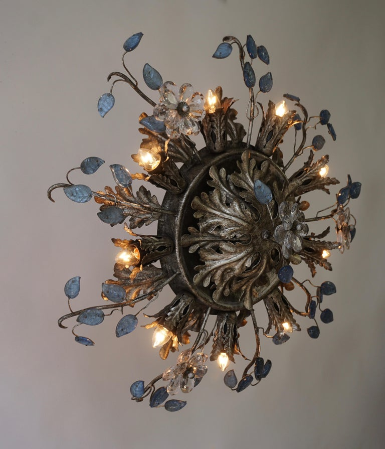 Mid-Century Modern Italian Hollywood Regency Metal and Glass Flush Mount or Ceiling Lamp, 1970s For Sale