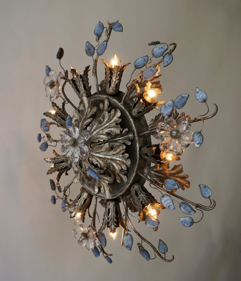 Italian Hollywood Regency Metal and Glass Flush Mount or Ceiling Lamp, 1970s In Good Condition For Sale In Antwerp, BE