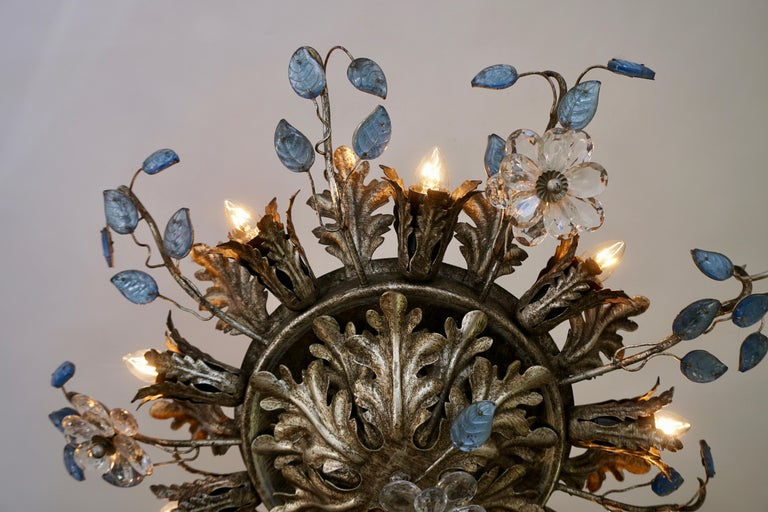 20th Century Italian Hollywood Regency Metal and Glass Flush Mount or Ceiling Lamp, 1970s For Sale