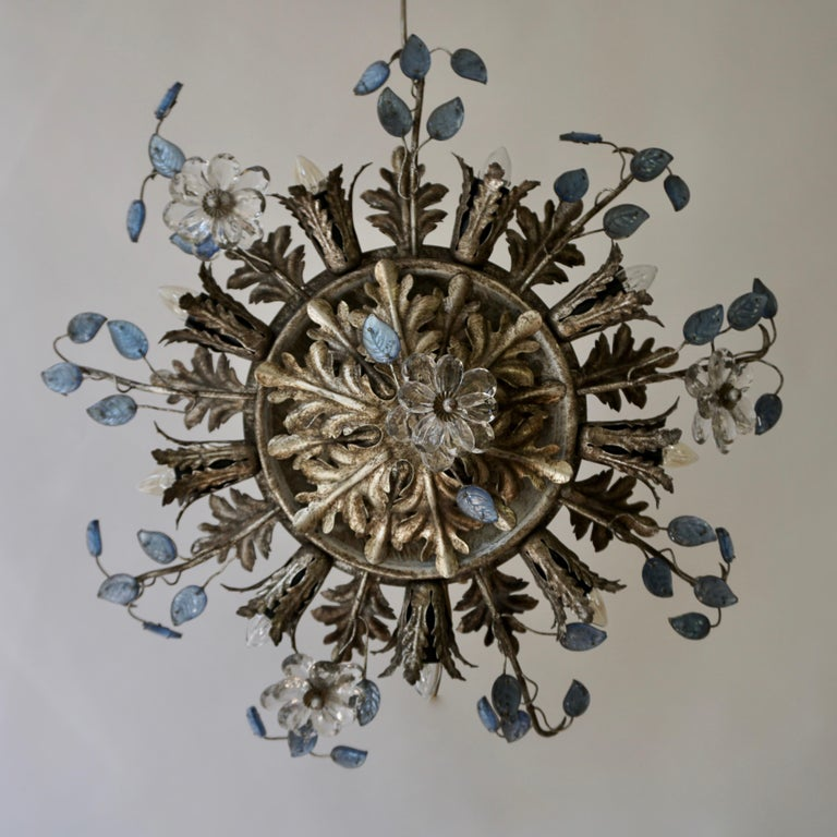 Murano Glass Italian Hollywood Regency Metal and Glass Flush Mount or Ceiling Lamp, 1970s For Sale