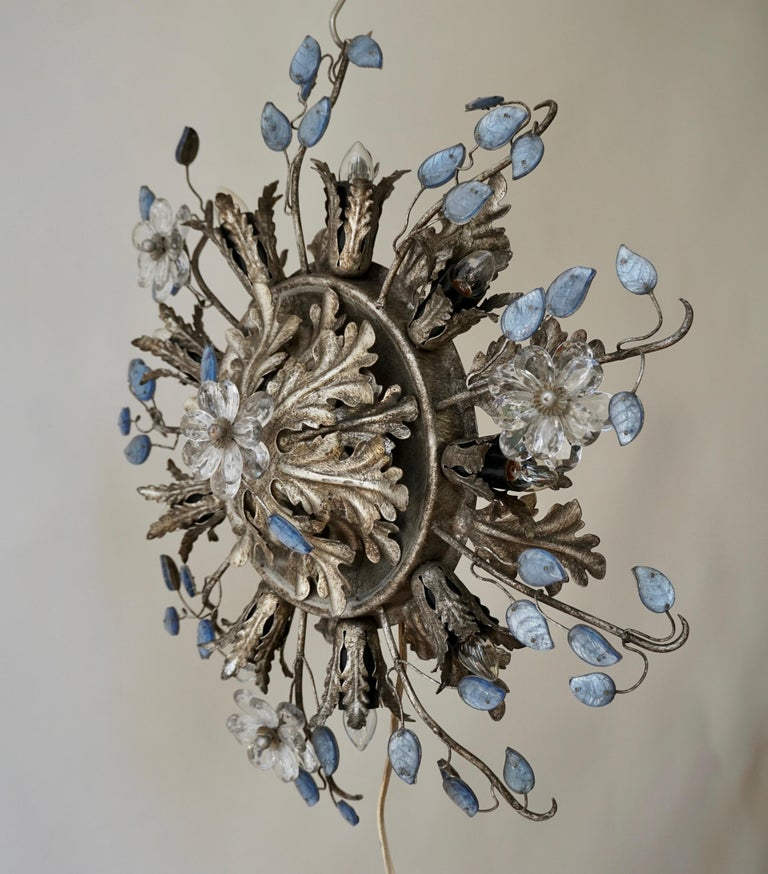 Italian Hollywood Regency Metal and Glass Flush Mount or Ceiling Lamp, 1970s For Sale 1
