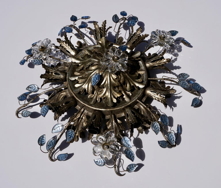 Italian Hollywood Regency Metal and Glass Flush Mount or Ceiling Lamp, 1970s For Sale 2